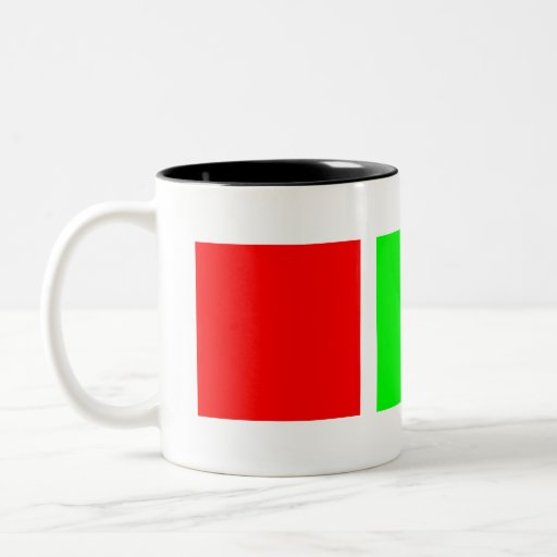 Verde verde rojo taza de dos tonos