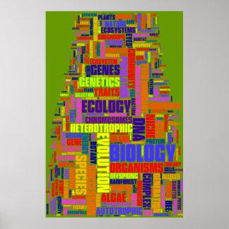 Verde vibrante de no. 1 de Wordle de la biología Póster