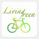 Verde vivo calcomanía cuadradas personalizadas