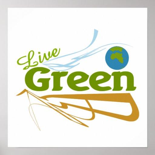 verde vivo de la tierra póster