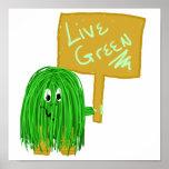 Verde vivo del verde impresiones