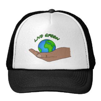 verde vivo gorros bordados