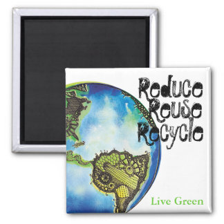 Verde vivo imán cuadrado