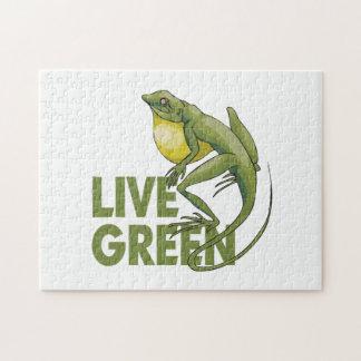 Verde vivo, lagarto rompecabezas con fotos