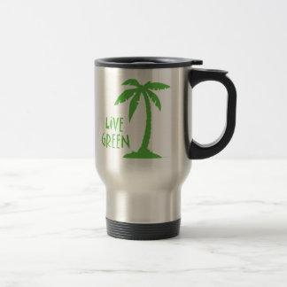 Verde vivo - palmera taza de viaje