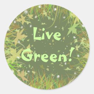 ¡Verde vivo! Pegatina Redonda