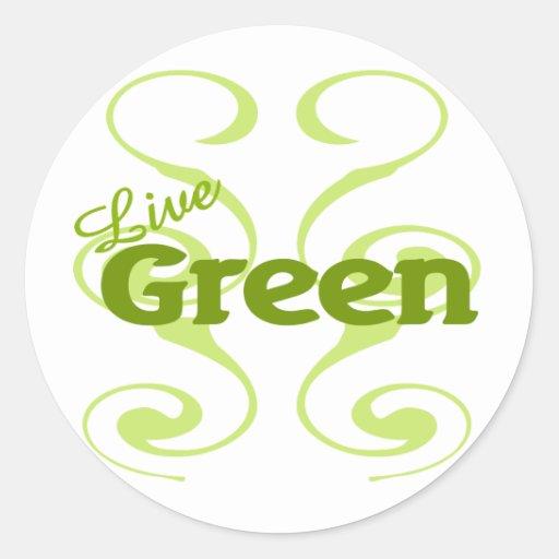verde vivo pegatinas redondas
