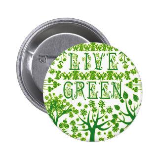 Verde vivo pin redondo 5 cm