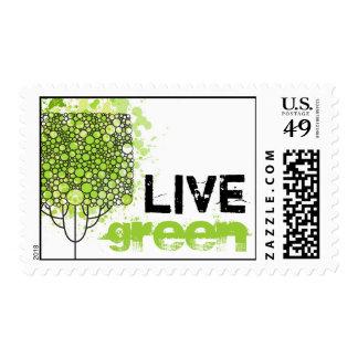 Verde vivo sello postal