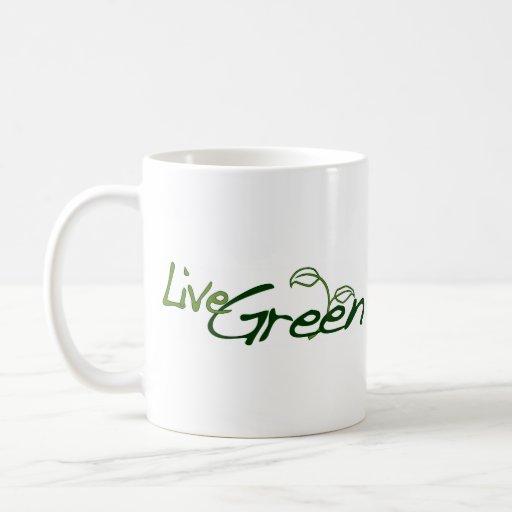 Verde vivo tazas de café
