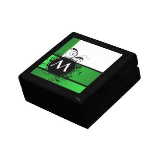 Verde vivo y blanco caja de joyas
