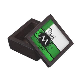 Verde vivo y blanco caja de regalo de calidad