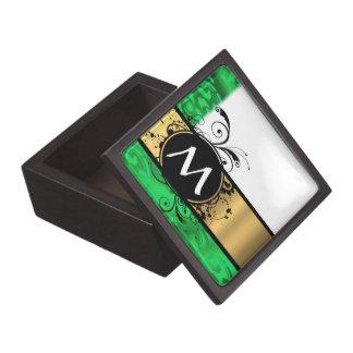 Verde vivo y oro cones monograma cajas de recuerdo de calidad