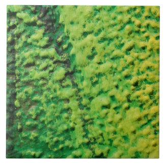 Verde y amarillo abstractos azulejo cuadrado grande