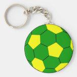 Verde y amarillo del fútbol del fútbol llavero redondo tipo pin