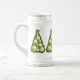 Verde y árboles de navidad de las burbujas del oro tazas de café