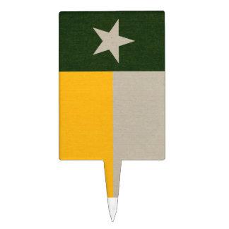Verde y arpillera de la bandera de Tejas del oro Decoraciones Para Tartas