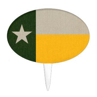 Verde y arpillera de la bandera de Tejas del oro Figura De Tarta