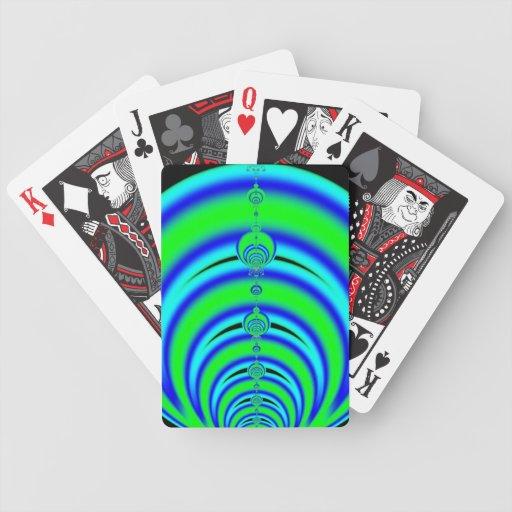 Verde y azul burbujea el fractal baraja de cartas