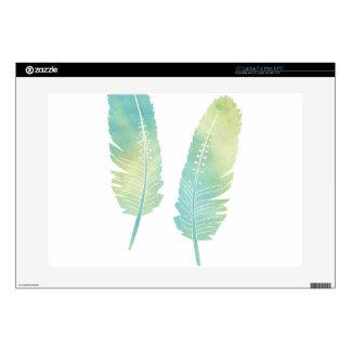 Verde y azul de la acuarela de la pluma de Boho Skins Para 38,1cm Portátiles