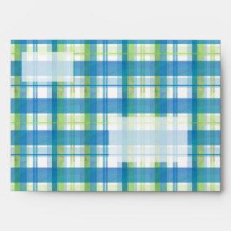 Verde y azul de la tela escocesa de Madras Sobres
