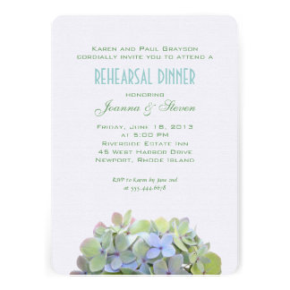 Verde y azul florece la cena del ensayo invitan comunicado