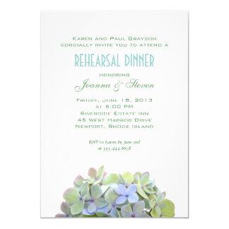 Verde y azul florece la cena del ensayo invitan invitación 12,7 x 17,8 cm