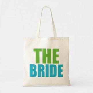 Verde y azul la novia Bolso del boda Bolsa Lienzo