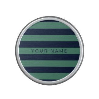 Verde y azules marinos personalizados rayados altavoz bluetooth