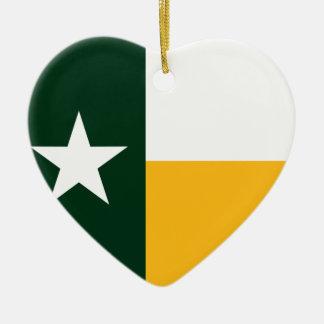Verde y bandera de Tejas del oro Adorno De Cerámica En Forma De Corazón