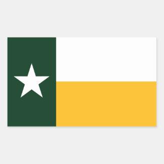 Verde y bandera de Tejas del oro Rectangular Pegatinas