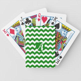 Verde y blanco agita el monograma baraja de cartas bicycle