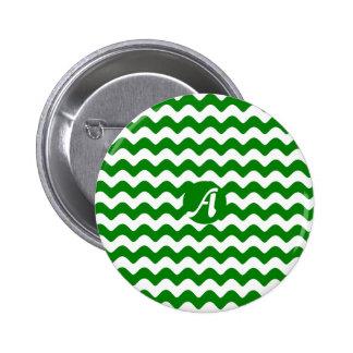Verde y blanco agita el monograma chapa redonda 5 cm