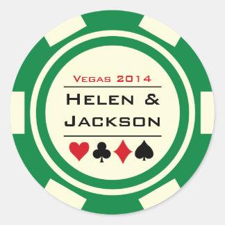 Verde y blanco de la ficha de póker pegatina redonda