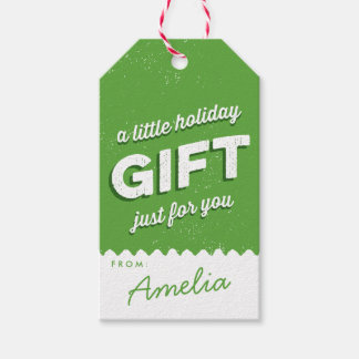 Verde y blanco del día de fiesta del estilo del etiquetas para regalos
