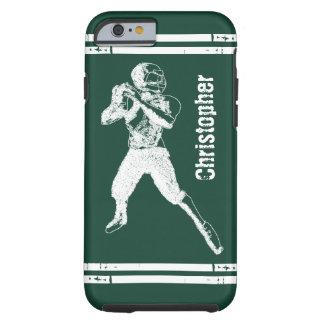 Verde y blanco del estratega del fútbol del Grunge Funda De iPhone 6 Tough