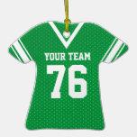 Verde y blanco del jersey del fútbol ornaments para arbol de navidad