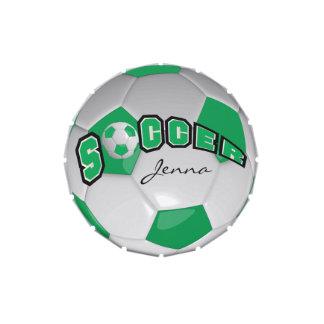 Verde y blanco personalice el balón de fútbol latas de dulces
