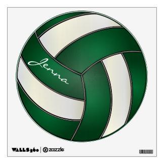 Verde y blanco personalice el voleibol vinilo