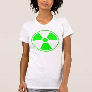 Verde y blanco radiactivos del símbolo de la camisas