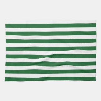 Verde y blanco raya la toalla de cocina