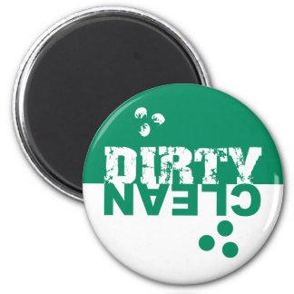 Verde y blanco sucios/limpios del imán del lavapla
