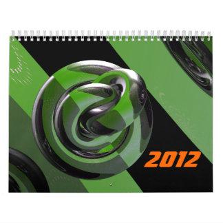 Verde y brillante calendario de pared