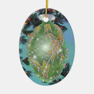 Verde y bulbo de cristal de la plata adorno navideño ovalado de cerámica