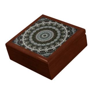 Verde y caja de madera del teja-top de la mandala  caja de regalo