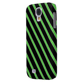 Verde y caja del teléfono celular de las rayas funda para galaxy s4