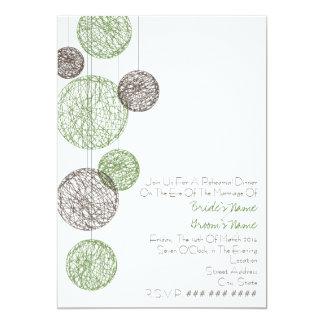 """Verde y cena del ensayo de los globos de la guita invitación 5"""" x 7"""""""