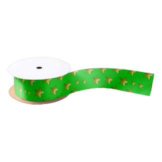 Verde y cinta de satén de las estrellas del oro