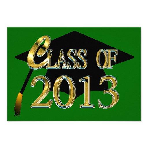 Verde y clase del oro de las invitaciones 2013 de  invitacion personal