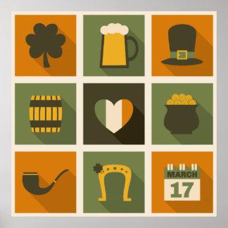 Verde y collage del día de St Patrick retro anaran Póster